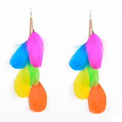 Ethic Multi Chains Feather Drop Earrings