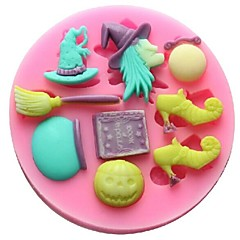 Witch Broom Fondant Cake Chocolate Resin Clay Candy Silicone Mold,L9.5cm*W9.5cm*H1cm