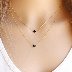 European Two Black Gem Tiny Pendant Necklace(1 Pc)