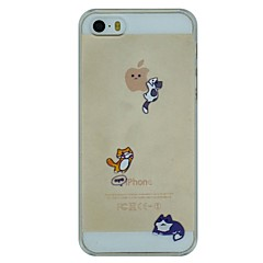 Three Naughty Cats Pattern PC Hard Transparent Back Cover Case for iPhone 5/5S