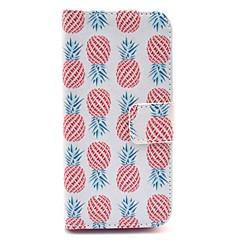 padrão abacaxi vermelho em couro branco pu caso de corpo inteiro para o iPhone 5 / 5s