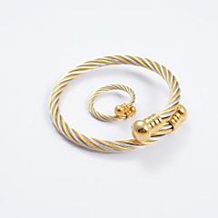 Ékszer készlet Divat Titanium Acél Arany/Ezüst Gyűrűk Karkötő Mert Napi Hétköznapi Esküvői ajándékok