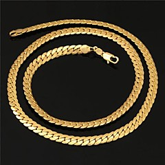 U7® Men's High Quality 18K Real Gold Plated Figaro Chunky Chain Necklace with 18K Stamp 6MM 55CM