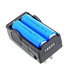2 stuks 18650 3.7v-4.2v 5000mAh li-ion batterij + 18650 acculader