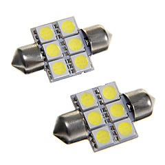 6 * 5050 SMD LED carro 31 milímetros interior cúpula festão lâmpada de luz branca (dc12v 2pcs)