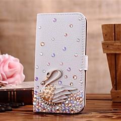 diamant cygne pu cuir de cas complète du corps avec support et fente pour carte pour l'iPhone 5 / 5s (couleurs assorties)