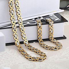 Top Quality Dubai Style Vintage Stainless Steel Jewelry/ Men's Bracelets&Necklace Man's Jewelry Sets F5601