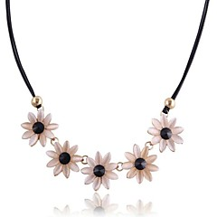 Daisy Opal Black Leather Statement Necklaces(Hualuo Jewelry)