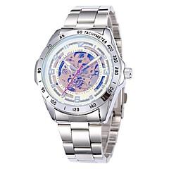 reloj de la venda de acero de línea esqueleto moda muñeca auto viento automático de los hombres (colores surtidos)