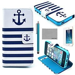 modello blu navy ancoraggio cuoio dell'unità di elaborazione caso corpo pieno coco fun® con la pellicola, stand e lo stilo per iPhone 5 / 5s