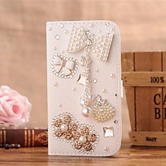 Diamond Pearl Bowknot Flowers PU Leather Full Body Case with Stand and Card Slot for Samsung Galaxy Note 2 N7100