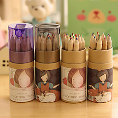 Cartoon Girl Pattern 12 Color Painting Pencil Set(12 PCS/Set)