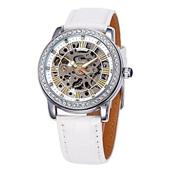 Women's Hollow Dial Diamond Case Leather Band Auto-Mechanical Wrist Watch (Assorted Colors)