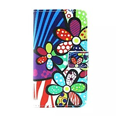Color Flower Pattern PU Leather Full Body Case with Card Slot and Stand for Samsung Galaxy Core 2 G3556D