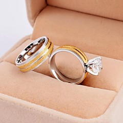 Sweet Lover Gold High Quality Scrub Titanium Steel Wedding Couple Rings