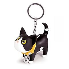 piękny mały czarny silikon& biały kot brelok