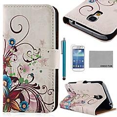 Coco Fun® patrón de seda caja de cuero de la PU de rosa púrpura con protecter pantalla y stylus para mini i9190 samsung galaxy s4