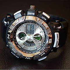Men's Round Sports Watch LED Display Japanese Quartz Watch PU Strap Dual Display  WRIST WATCH Assorted Colors