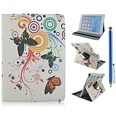 Flower and Butterfly Pattern PU Leather Full Body Case with Stand and Capacitance Pen for iPad Mini 1/2/3