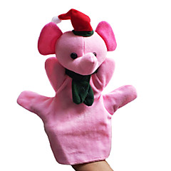 2PCS Christmas Pink Elephant Parent-child Hand&Finger Puppets Kids Talk Prop