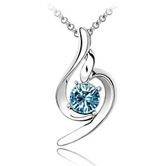 Gentleness Crystal Short Necklace Plated with 18K True Platinum Aquamarine Crystallized Austrian Crystal Rhinestone