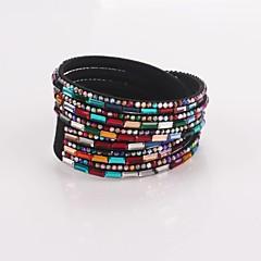Eruner®Multilayer Multicolor Rhinestone Leather Bracelet(Black)