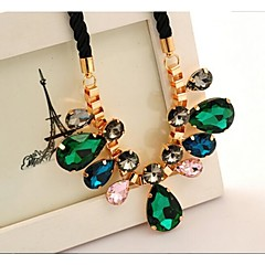 Love Is Your Big Gem Drops Necklace Crystal Costly Short Statement Necklaces Accesories