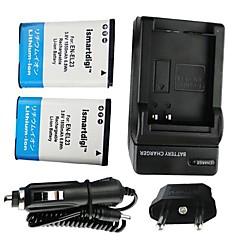 ismartdigi-Nikon EN-el23 x2 (1850mAh, 3.8V) kameran akku + EU-liitin + autolaturi Nikon COOLPIX P600