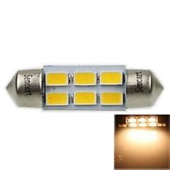 36mm (sv8.5-8) 3w 6x5730smd 180-220lm 3000-3500K lumière blanche chaude Ampoule LED pour la lampe voiture de lecture (ac12-16v)