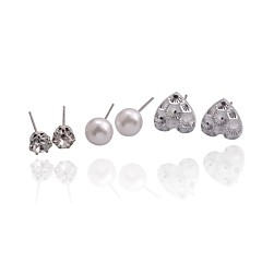 Lureme®Simple Style Drill Pear Peach Heart Stud Earrings Suit(3 Pairs Per Set)
