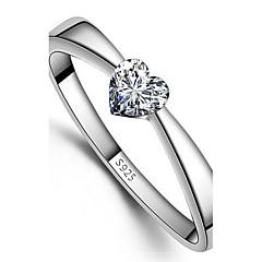 925 kvinnor hjärta print ringar