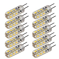 10 pcs G4 1.5W 24 SMD 3014 100-120 LM Warm White / Cool White T Dimmable LED Corn Lights DC 12 V