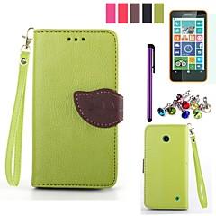 Blatt-Design pu leahter Fall mit Film, Stift und Staubstecker für Nokia Lumia 630/635 (farblich sortiert)