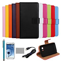 COCO FUN® Ultra Slim Solid Color Genuine Leather Case with Film,Cable and Stylus for Samsung Galaxy Trend Plus S7580