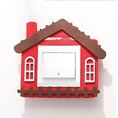 Viscosity House Shape Wool material Switch Sticker(Random Color)(Internal 8.4*8.4cm)