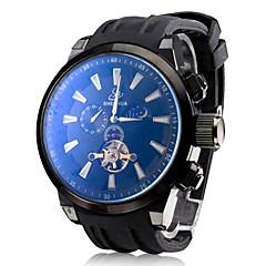 Herren-auto-mechanische Tourbillon schwarzem Silikon-Band-Armbanduhr (farbig sortiert)