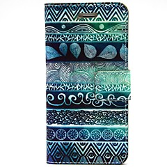 Blue Fingerprint Flowers Pattern PU Leather Full Body Case with Card Slot and Stand for iPhone 5/5S