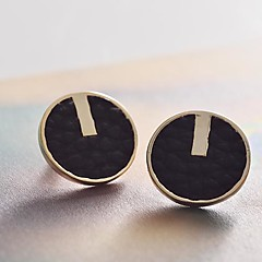 Lureme® EuropeStyle  Leather Roundness Alloy Stud Earrings