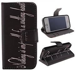 Personality English Letters Pattern PU Leather Full Body Cover with Stand and Money Holder for iPhone 4/4S