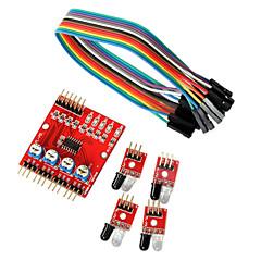 4-way sensori moduli di linea di trasmissione tracciamento a infrarossi auto robot per Arduino