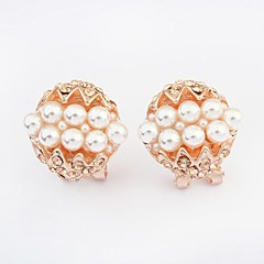 Stud Earrings Pearl Imitation Pearl Rhinestone Simulated Diamond Alloy Fashion Screen Color Jewelry 2pcs