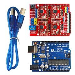 funduino 3d0073 fr4 uitbreidingskaart + 4-stappenmotor drives + funduino-uno r3 boord kit voor arduino