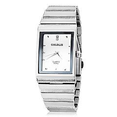 JUBAOLI Men's Dress Watch Quartz Stainless Steel Band Black Silver