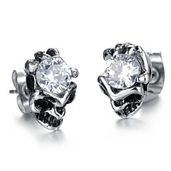 Restore Ancient Ways (Skull) Titanium Steel Stud Earrings (Silver) (1 Pair)
