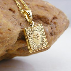 18K Golden Plated Allah Muslim Book Pendant