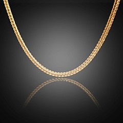Never Fade Jack Men's 24K Real Gold Plated Figaro Square Link Chains Necklace High Quality for Men 5MM 75CM