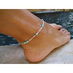 tyylikäs naisten helmi charmi metalli ketju nilkkaremmi rannekoru jalka sandaali ranta koruja