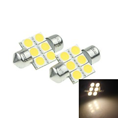 31MM(SV8.5-8)3W 6X 5054SMD 180-220LM 3000-3500K Warm White Light LED Bulb for Car Reading  Lamp 1 Pair (DC12-16V)
