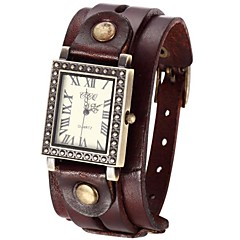 Women's Vintage Style Double Leather Band Quartz Analog Bracelet Watch (Assorted Colors)