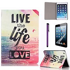 leva livet hav mönster pu läderfodral med skärmskydd och penna för iPad Mini 1/2/3